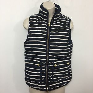J.Crew Excursion Puffer Quilted Vest Navy Striped